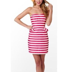 Lilly Pulitzer Maybell Pink Stripe Strapless Dress